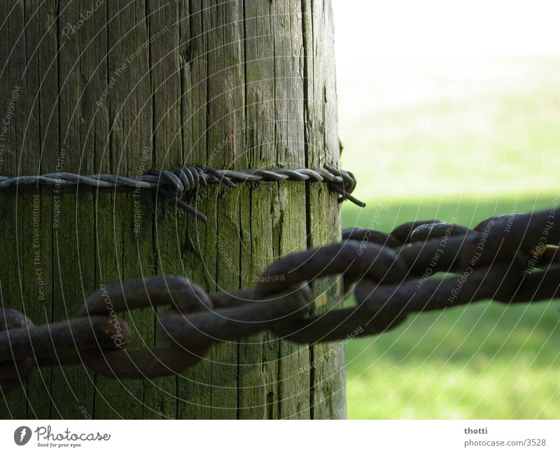 Meadow Wood Fence Chain Pole Barbed wire