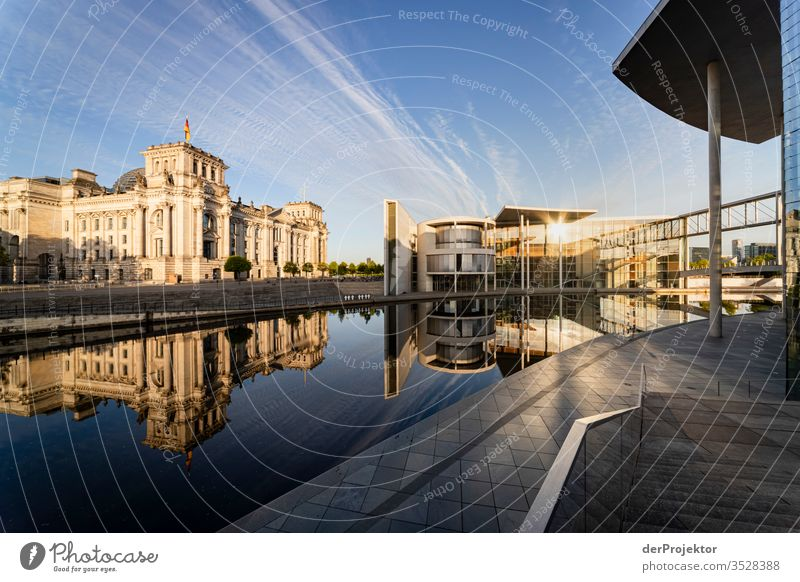 Government quarter in reflection in Berlin Central perspective Mirror image Multicoloured Exterior shot Dawn Long shot Sunlight Light Copy Space right