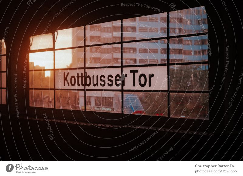 Kottbusser Tor in the evening light Berlin berlin traffic Architecture Town Colour photo Capital city Exterior shot Downtown Deserted Manmade structures