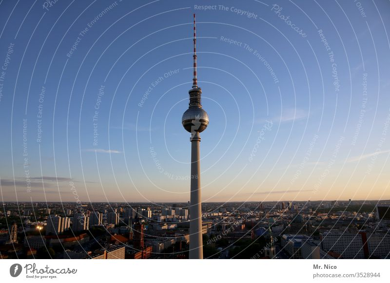 Berlin Television Tower Capital city Germany Landmark Tourist Attraction Architecture Town Manmade structures Television tower Vacation & Travel Panorama (View)