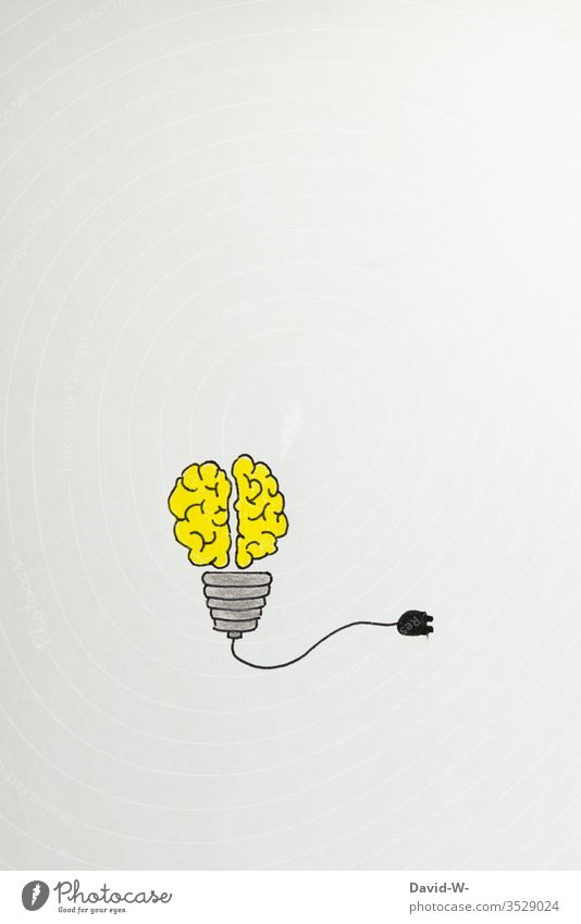 Light bulb and brain - idea Idea Drawing Creativity creatively Think Art Colour photo Inspiration Education Design School concept Paper Close-up background