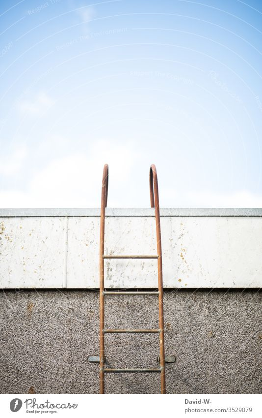 upwards - ladder up to the roof Ladder Roof Tall Upward upstairs Brave Test of courage Dangerous ladder to heaven Above on top Sky roasted Climbing To board off