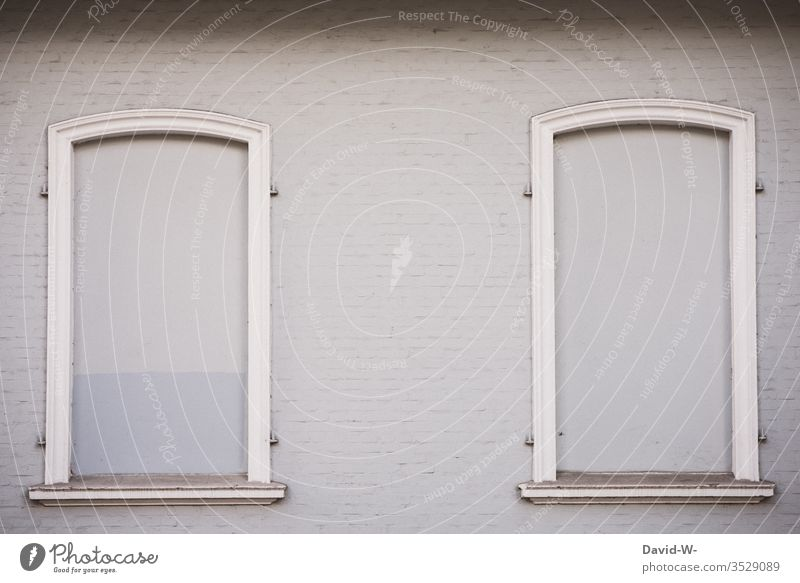 House wall - windows bricked up house wall House (Residential Structure) Window too bricked-up windows Closed locked Copy Space top Copy Space left