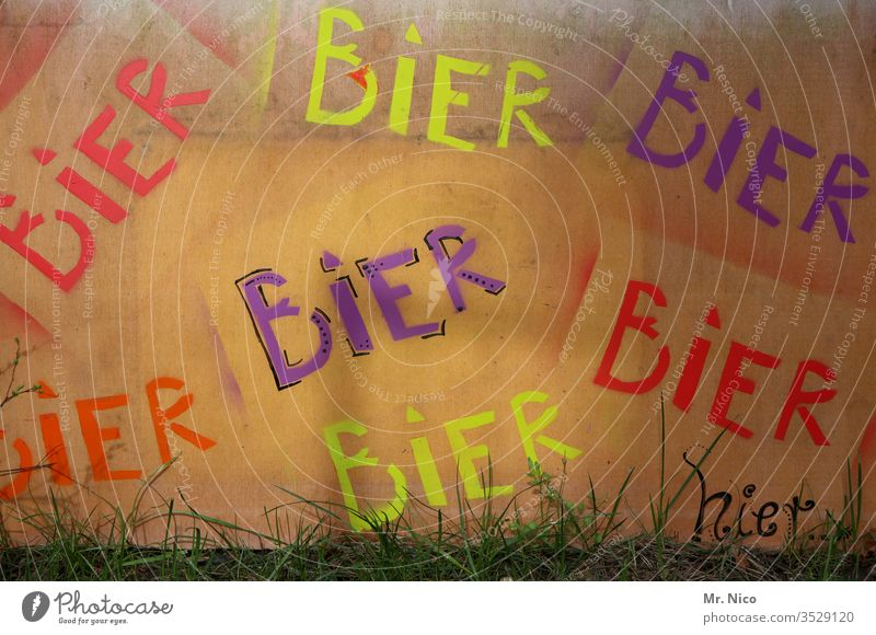 Beer Beer Beer Alcoholic drinks Beverage Characters Poster Advertising graffiti Wall (building) Drinking Addiction Alcoholism Alcohol-fueled Signs and labeling