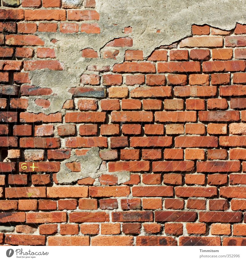 Wall (building) Emotions Wall (barrier) Brown Esthetic Broken Simple Digits and numbers Sign Brick 6 Remainder