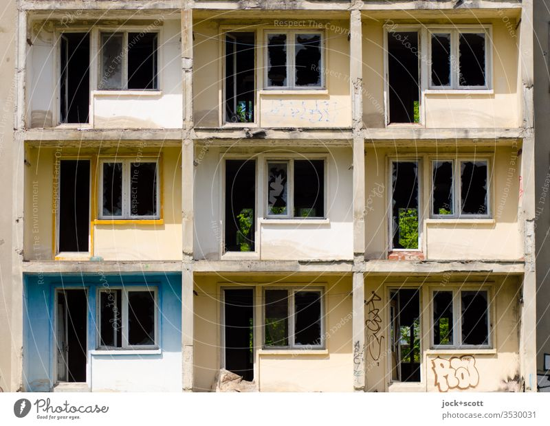 9 lost in rectangle Prefab construction Architecture Balcony Facade Concrete lost places Shadow Structures and shapes Ravages of time Transience Style Derelict