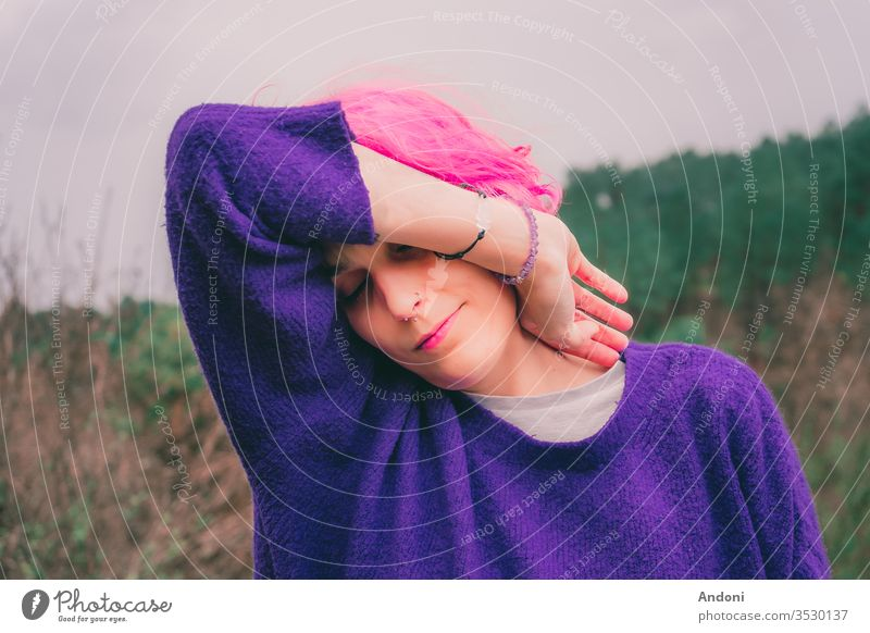 Woman With Pink Hair In The Woods hippie relax hair chic girl happiness provence floral outdoor field earrings woman bohemian model french morning lavender
