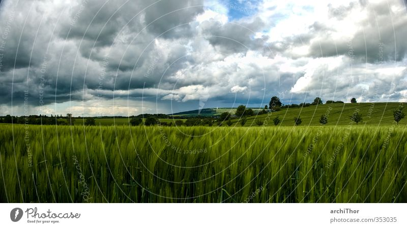 Weimar Kirschbach Valley Nature Landscape Clouds Horizon Storm Field Hill Infinity Natural Wanderlust Freedom Leisure and hobbies Power Colour photo