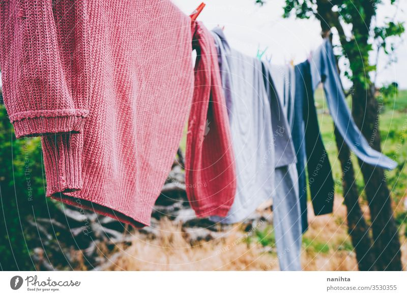 hanging out the clothes outdoors laundry wash clothesline hang out the washing nature natural wind rural rustic village country life hang up washing variety