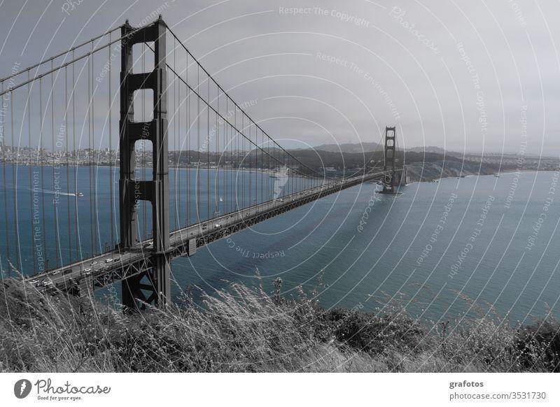 Blue Golden Gate Bridge blue Water San Francisco bridge Americas USA California Steel Landmark Colour photo Ocean Tourist Attraction Bay Exterior shot