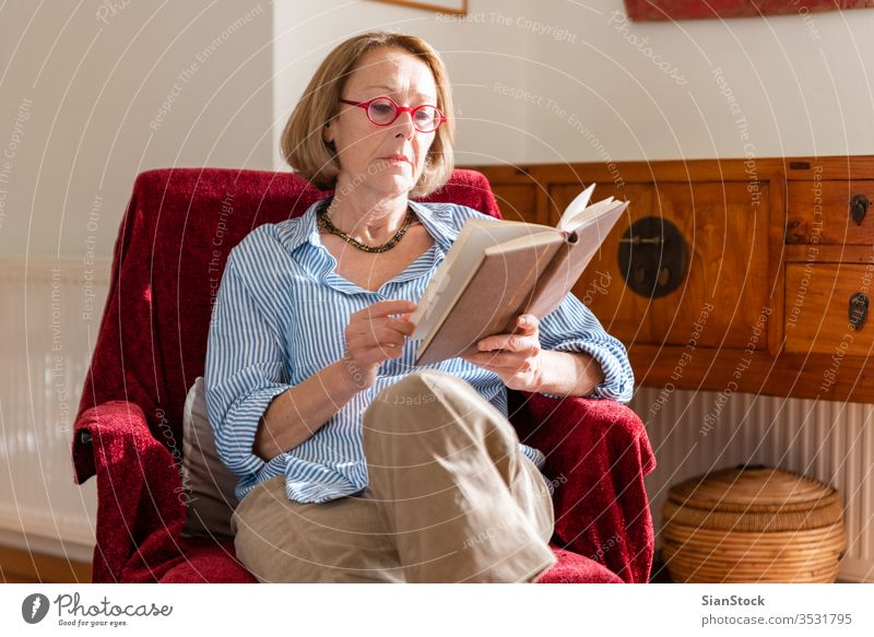 Elegant mature woman is reading a book at home reading book elderly woman relaxing at home knowledge modern wellbeing middle holding looking armchair sitting