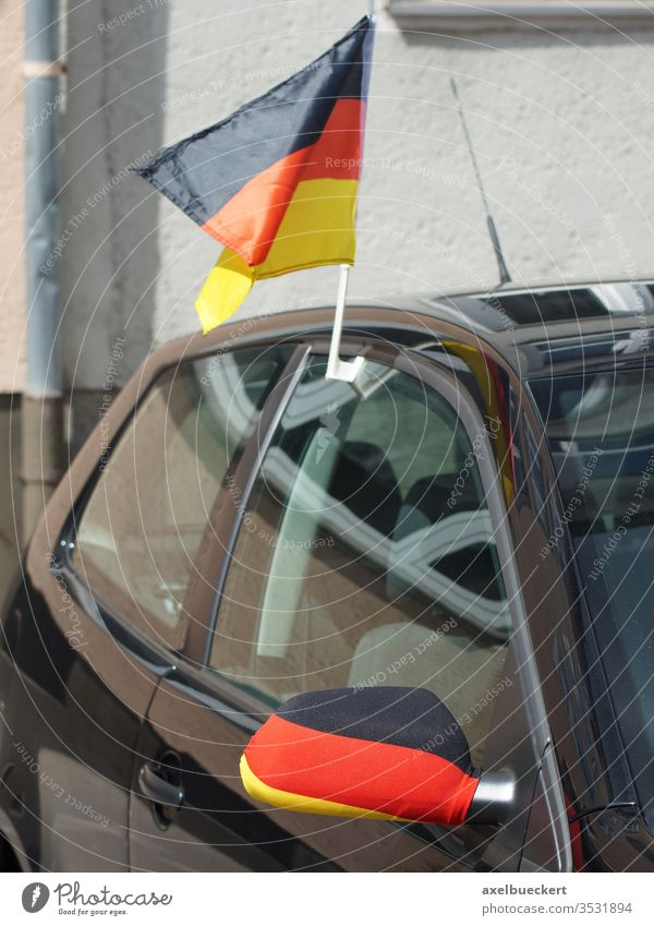 Car flag - German flag on the car - car roof and outside mirror car flag Germany Flag black-red-gold Car roof exterior mirrors Fan Sports World Cup