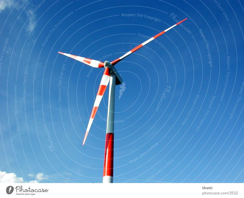 wind power red-white Wind energy plant Alternative Renewable Environment Electricity Industry Energy industry