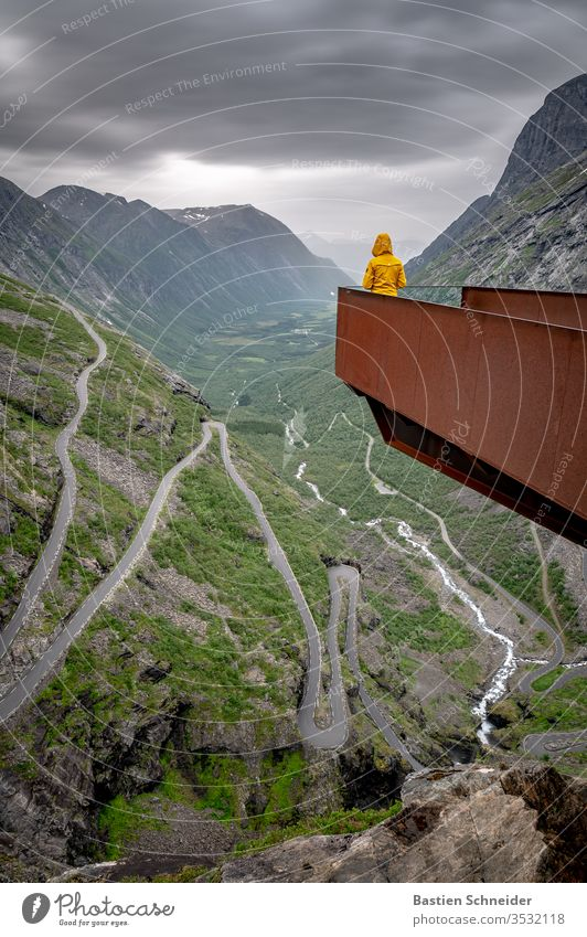 A magnificent view of the Trollstigen, Norway Street Vacation & Travel Freedom Aircraft Lanes & trails Adventure Mountain Nature Landscape Fog paved Traveling