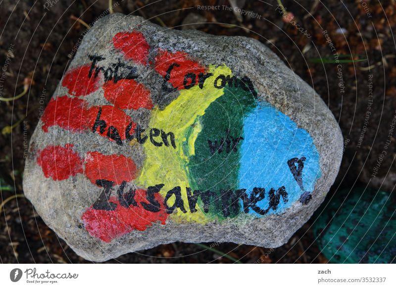 Corona stones painted by children Stone coronavirus Corona virus Virus Illness Healthy pandemic COVID Infection Quarantine Epidemic covid-19 Attachment Together
