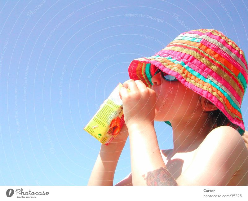 Boy on the beach Light Ocean Child Sun Thirst Hat Blue Sky Colour Human being