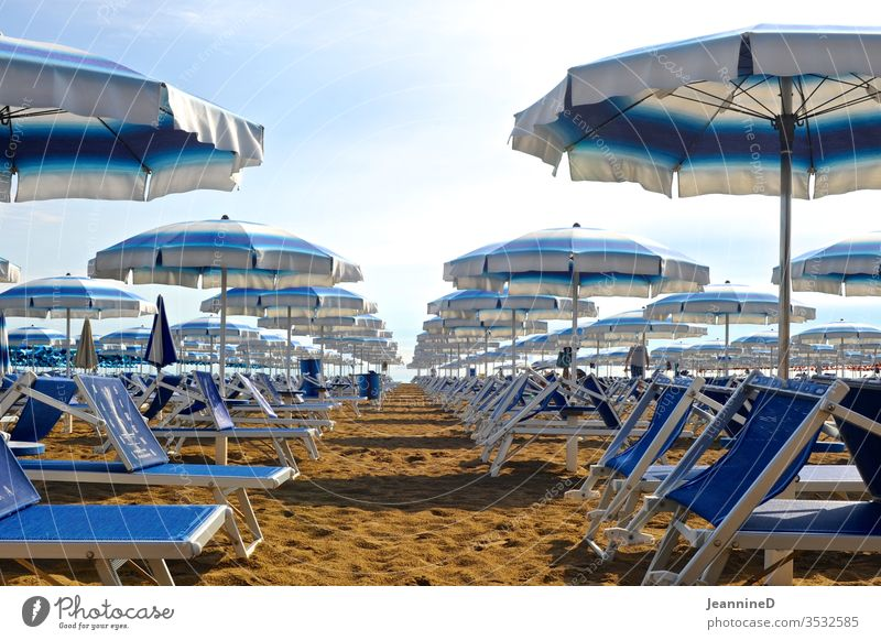 blue sunbeds with matching umbrellas on the beach Sunshade Summer Vacation & Travel Relaxation Exterior shot Deserted Day Tourism Beach Sky Blue Green Striped