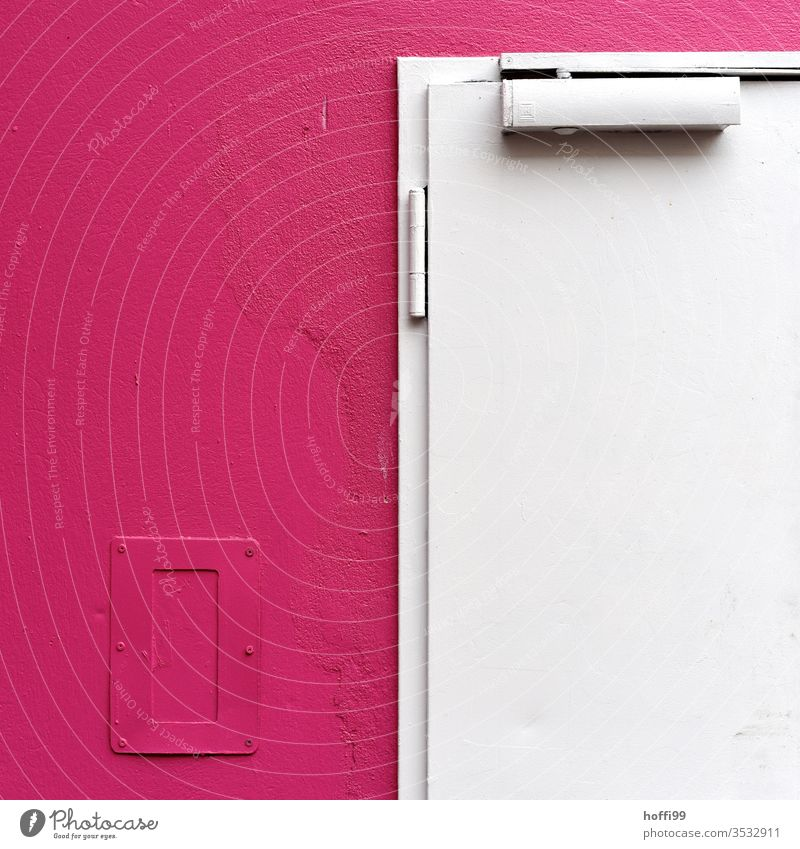 white door on a pink wall White Door Pink pink background Minimalistic Pattern Line Abstract Simple Design Structures and shapes Style Wall (building)
