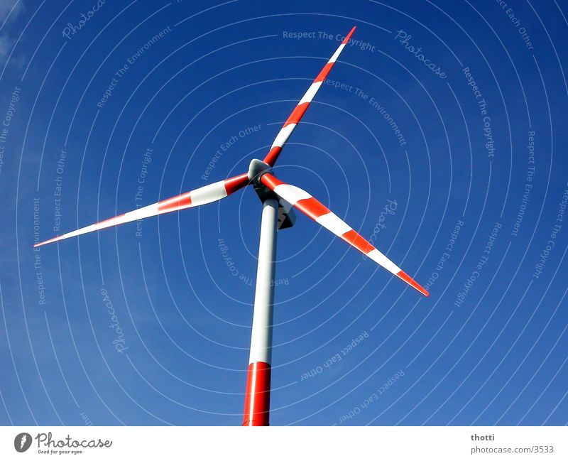 wind power white-red Wind energy plant Alternative Renewable Environment Electricity Industry Energy industry Sky