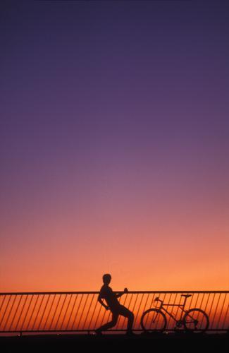 sungodown 91 Violet Gesture Bicycle Sunset June Orange mountain bike Handrail 1 person Bridge Evening
