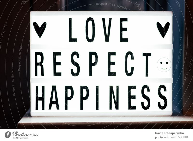 Lighted white signboard with warm text inscription light box decoration kind love respect happiness wish concept design symbol heart letter word romantic