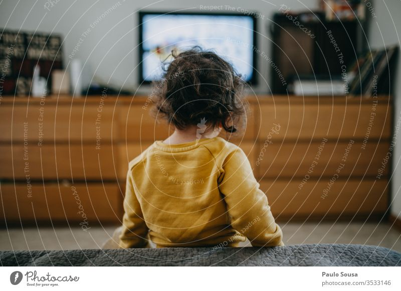 Child watching television at home Television Technology Caucasian 2-3 years 1 - 3 years Human being Colour photo Infancy Toddler Interior shot Lifestyle Home