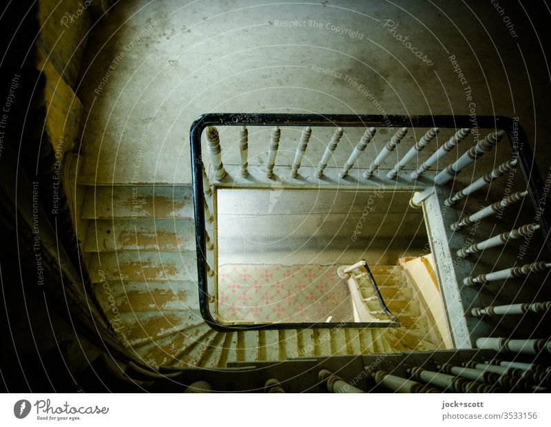take the stairs for a top-down view Wide angle Light (Natural Phenomenon) Silhouette Contrast Day Height difference Shadow Ravages of time Shaft of light built