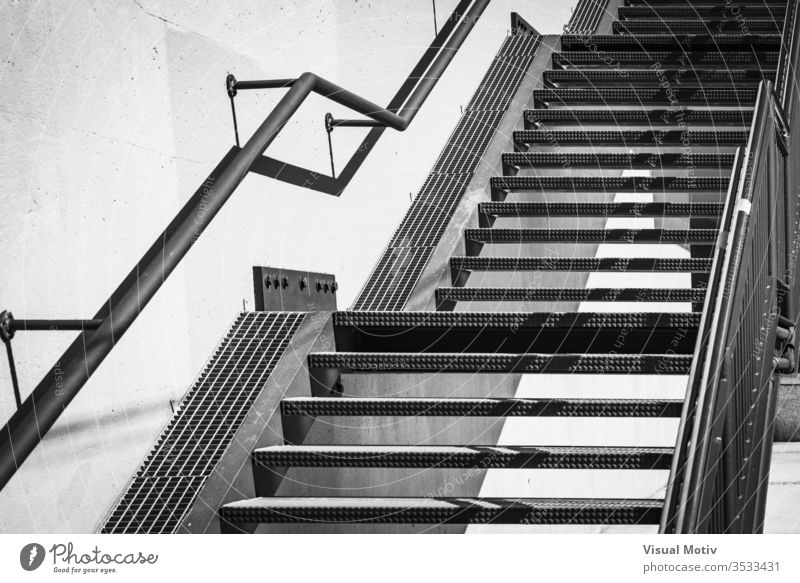 Exterior metal stairs in black and white architecture architectural architectonic structure urban outdoor exterior concrete abstract material wall iron outdoors