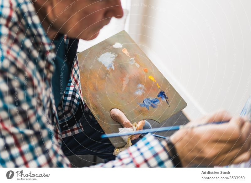 Aged man painting picture with brush artist aged paintbrush home inspiration draw concentrate palette oil easel paper studio hobby workshop gallery equipment