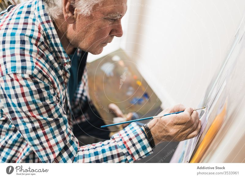 Focused aged man painting picture with brush artist paintbrush home inspiration draw concentrate palette oil easel paper studio hobby workshop gallery equipment