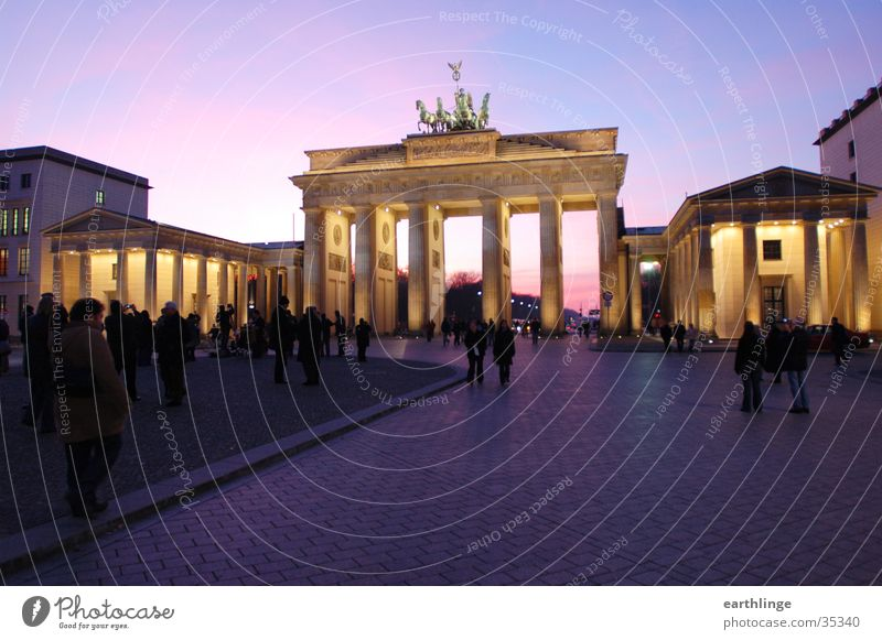 Human being Blue Cold Berlin Lighting Architecture Pink Passage Brandenburg Gate