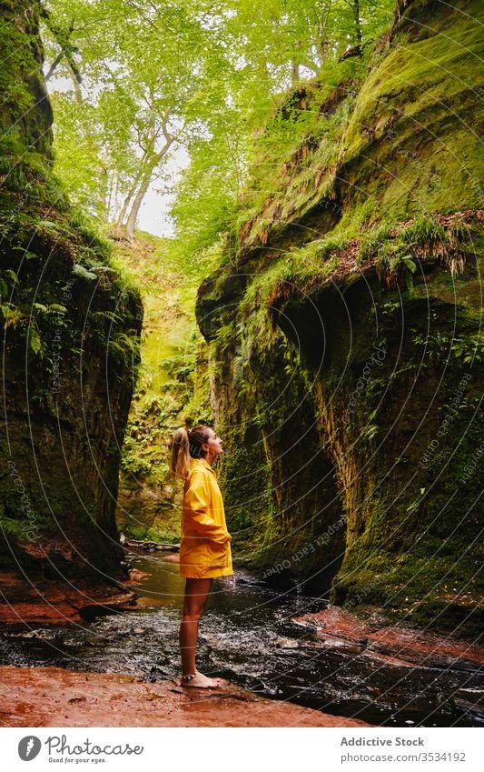 Female tourist standing near waterfall and green mountain nature explore woman idyllic wanderlust paradise vacation cascade recreation harmony admiring torrent