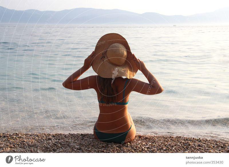 Young beautiful woman on the beach Beautiful Body Vacation & Travel Tourism Summer Sun Beach Ocean Mountain Woman Adults Nature Landscape Sky Horizon Coast