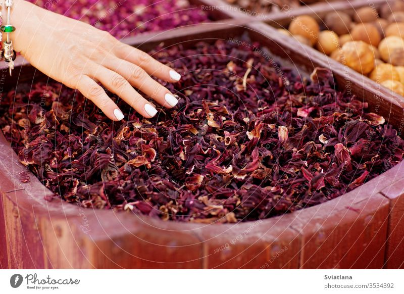 Large selection of different spices on the market spicy herb background food taste cooking natural pepper seed aromatic macro organic pattern health herbal