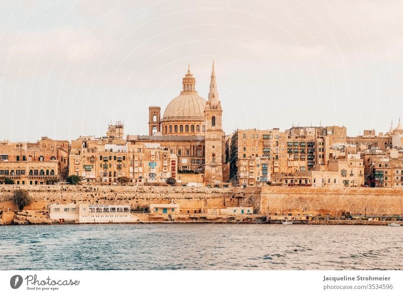 Waterfront of Valletta, Malta valletta malta maltese waterfront sea side sandstone sandstone building view old town old buildings UNESCO World Heritage Site