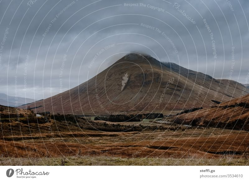 Mountain landscape in the Highlands of Scotland in the fog Nature Landscape Deserted Great Britain Exterior shot Clouds Europe Colour photo Day hillock