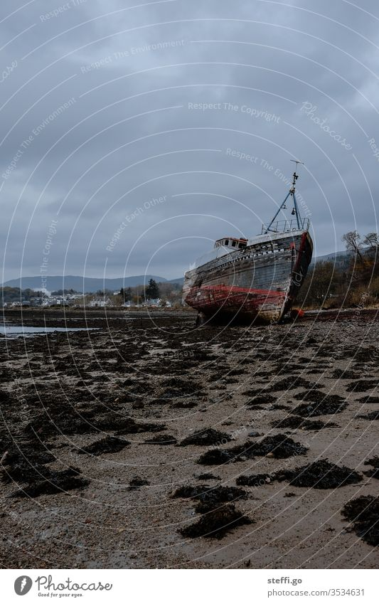 Shipwreck on a beach in Scotland in bad weather Europe Great Britain Ben Navis ship Wreck Old Exterior shot Deserted Colour photo Day Nature Landscape