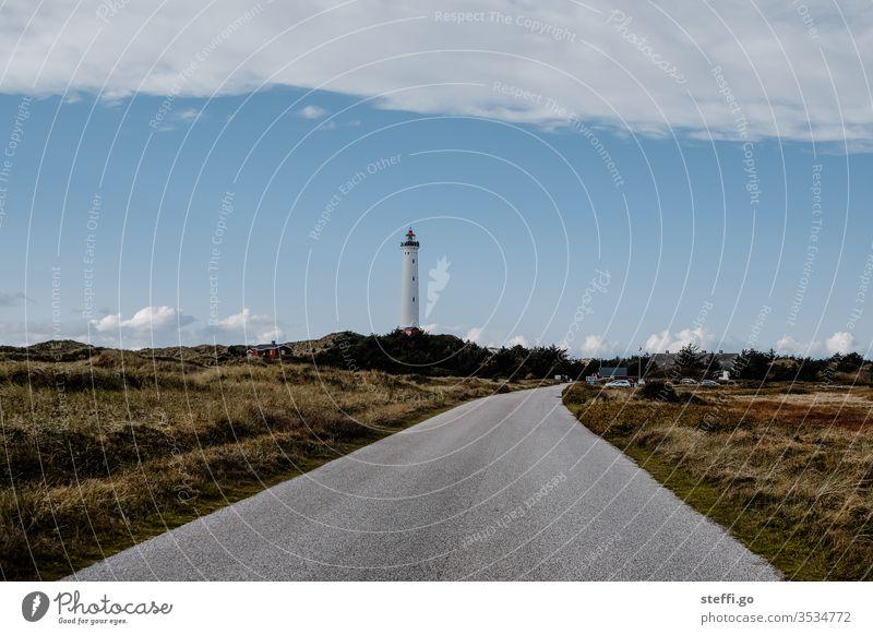 Road to a lighthouse in the dunes of Hvide Sande Denmark Scandinavia Scandinavian Hvide Sands Lyngvig Fyr Lighthouse Vantage point Street Exterior shot