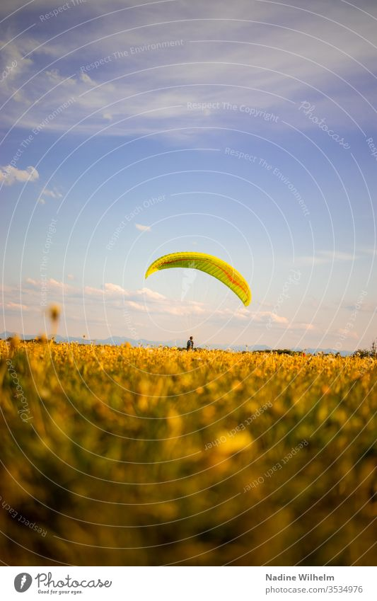 Dry practice in paragliding Paragliding Paraglider Glide tutorial Meadow Flying Sports Sky Freedom Blue Leisure and hobbies Extreme sports Colour photo Fear