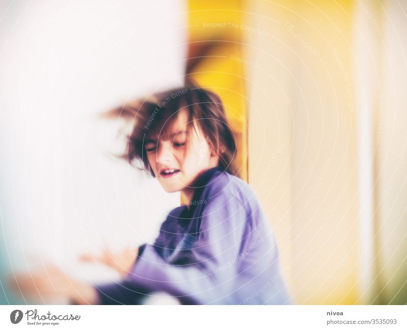 boy dancing with eyes closed fooling Spinning Crazy indoor Boy (child) Joy Child Interior shot Colour photo Human being Day young Caucasian Youth (Young adults)