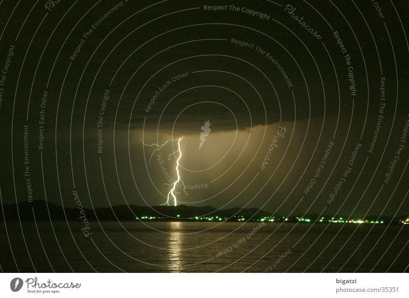 midnight flash Night Lightning Long exposure Thunder and lightning beach lightning Sky