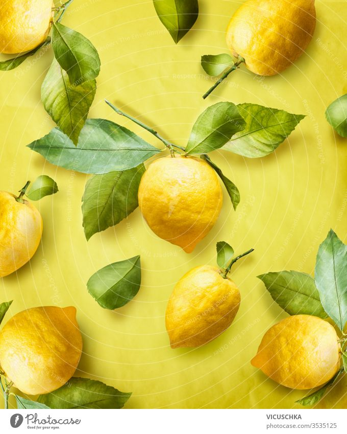 Ripe lemons on branch with green leaves at yellow background. Creative. Summer Pattern. Trendy fruits. ripe creative summer pattern trendy fruits color abstract