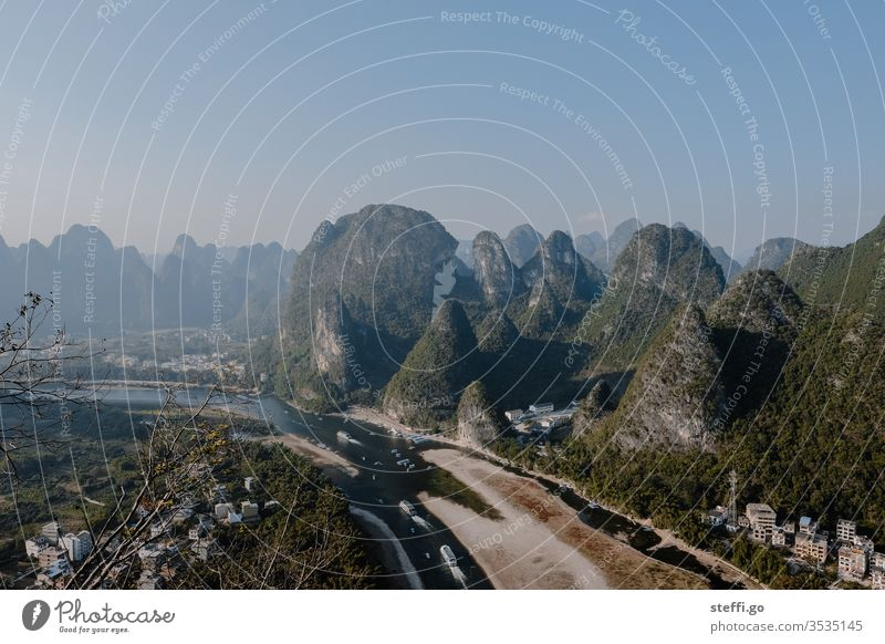 View of karst mountains and the river Li in Guilin, China Guilin Mountains karst landscape River Li Asia Panorama (View) Vantage point vantage point River bank