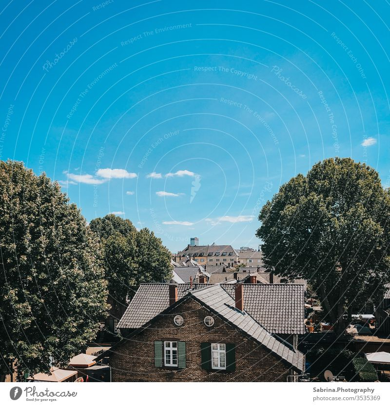 View over the roofs of Ludwigshafen with a cloudless sky outlook Architecture Deserted Colour photo Town Exterior shot Copy Space top Wide angle