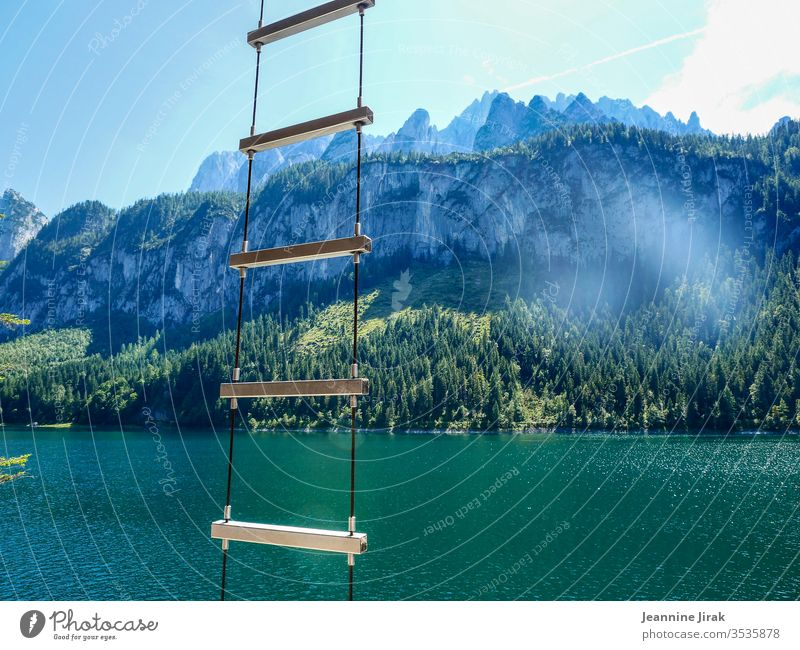 ladder to heaven Alps Ladder Lake mountain lake Austria vacation Relaxation Swimming & Bathing Mountain Climbing Landscape Vacation & Travel Colour photo