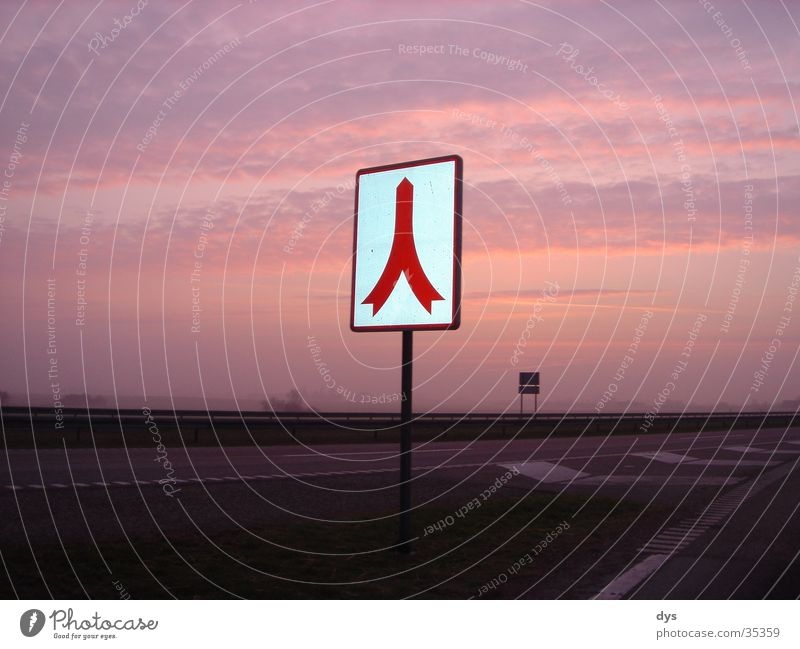 Sky Sun Red Clouds Street Lanes & trails Signs and labeling Beginning Transport Europe Highway Traffic infrastructure Road sign