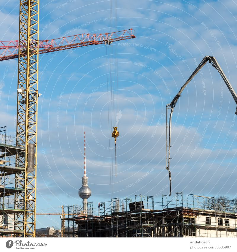 The construction sites of the capital Berlin apartments architecture boom builder building building  industry Business capital cities center city concrete