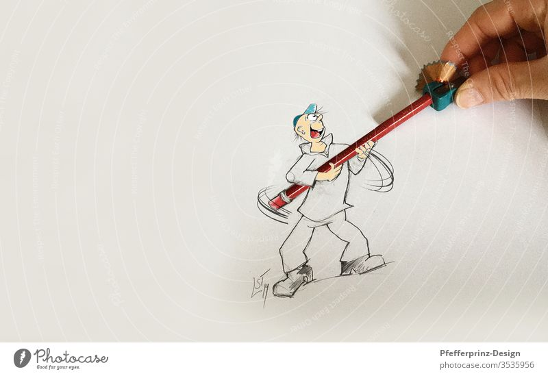 Teamwork - Caricature - Comic figure and pencil tips at the same time helping cartoon Drawing