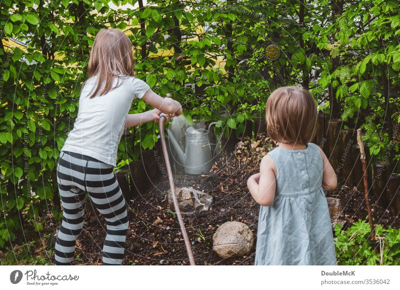 One girl waters the garden, the other watches children Colour photo Cast Attachment Affection Leisure and hobbies Garden Gardening Hedge muck about Engagement
