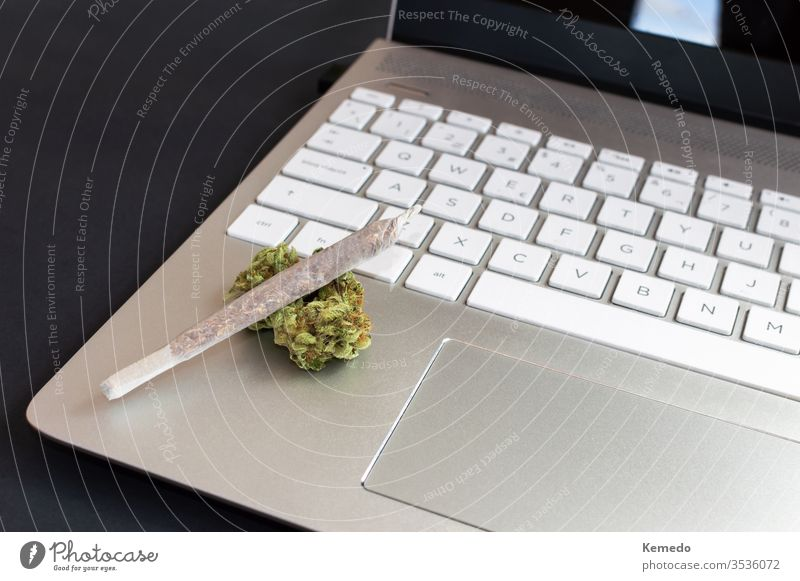 Big marijuana joint and cannabis buds on laptop on black background, Concept of cannabis and technology. computer smoke office weed isolate roll home desk